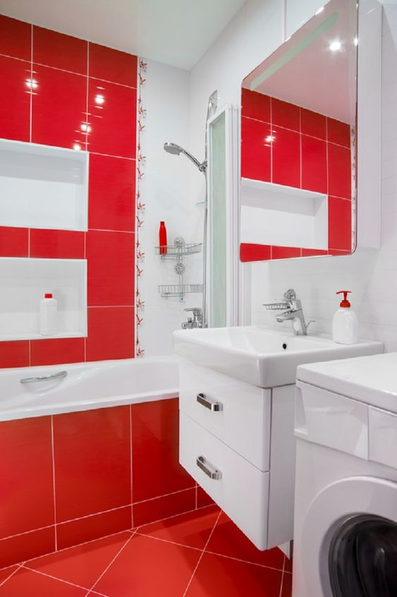 a bright red and white bathroom looks fresh, bold and inviting and raises the spirits at once