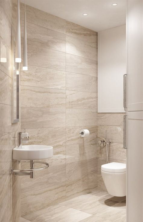 a modern bathroom done in beige and tan and touches of white, with porcelain tiles