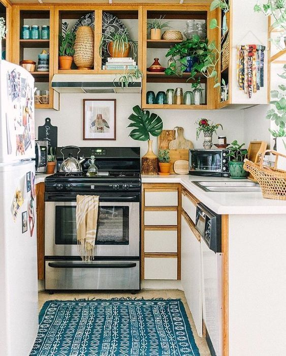 a small boho kitchen with open cabinets, closed sleek ones, a pritned rug, lots of greenery and leaves