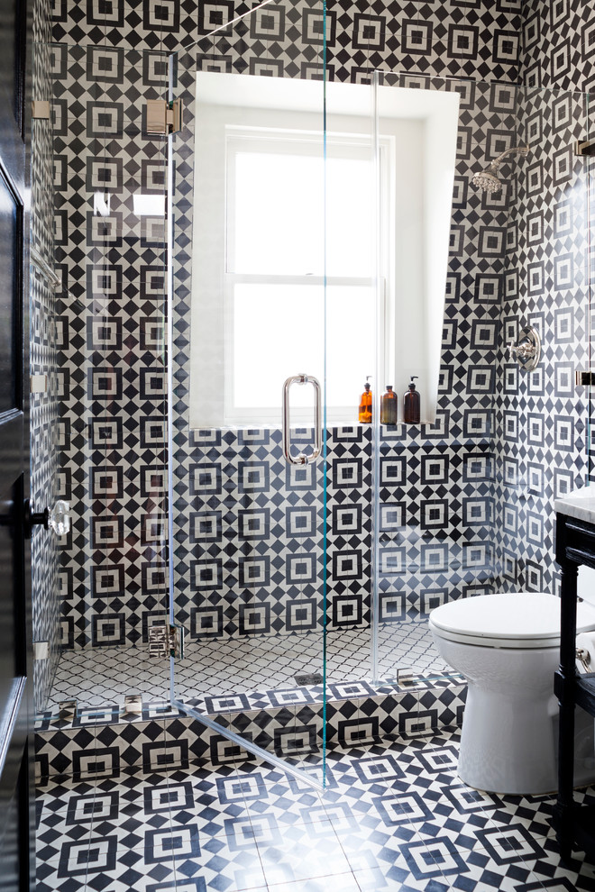 Perfect an alcove shower would llok great with interestisting graphic black and white patterned tiles