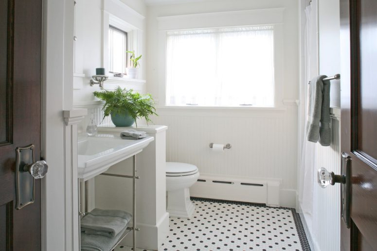 black and white hexagon floor tiles are quite popular nowdays so you can  find them in. 71 Cool Black And White Bathroom Design Ideas   DigsDigs