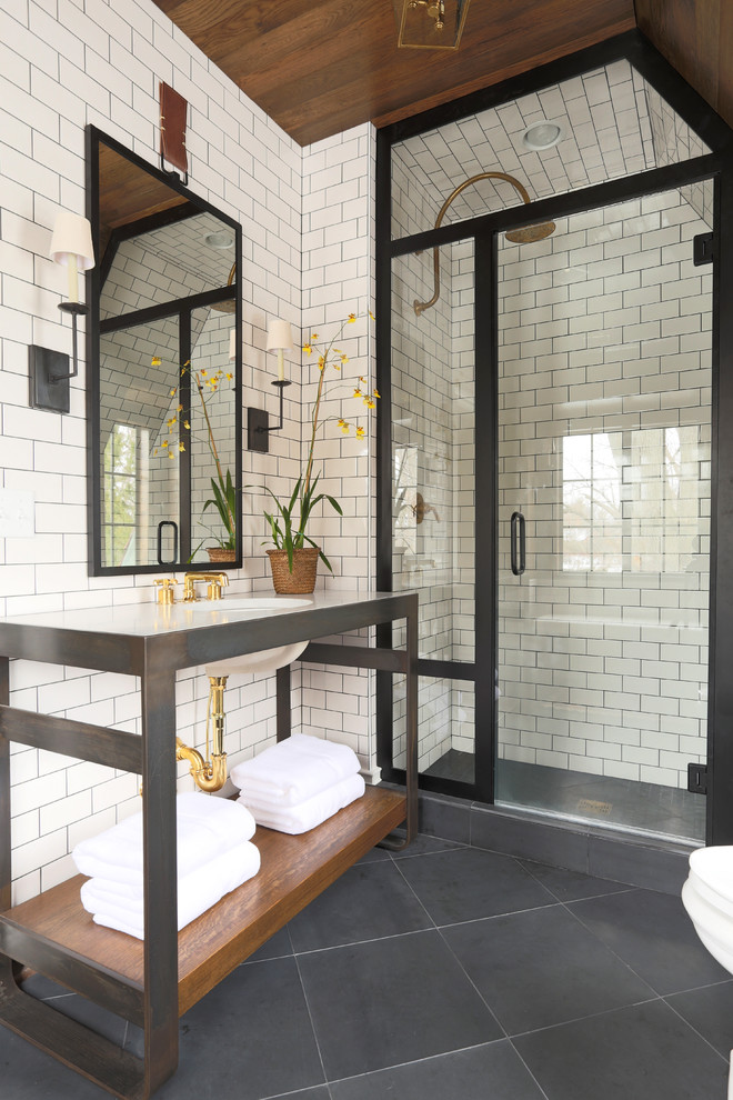 Black Tiles In Bathroom Ideas Part - 46: Chic Black And White Scheme Works Great With White Subway Tiles And Black  Grout