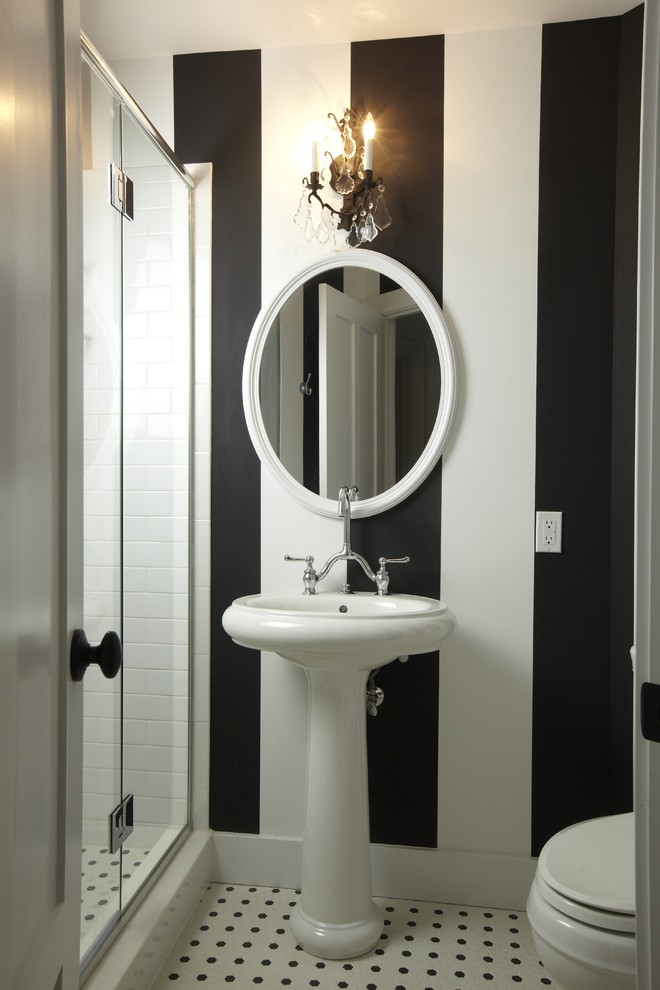hick alternating black and white stripes are perfect for compact bathrooms