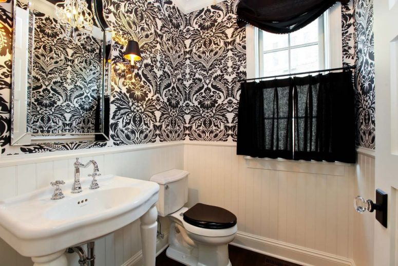 Black And White Bathroom Design Ideas · The Color Theme Works For Powder  Rooms Too