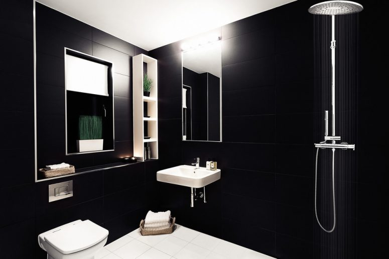 71 cool black and white bathroom design ideas digsdigs Room with black walls