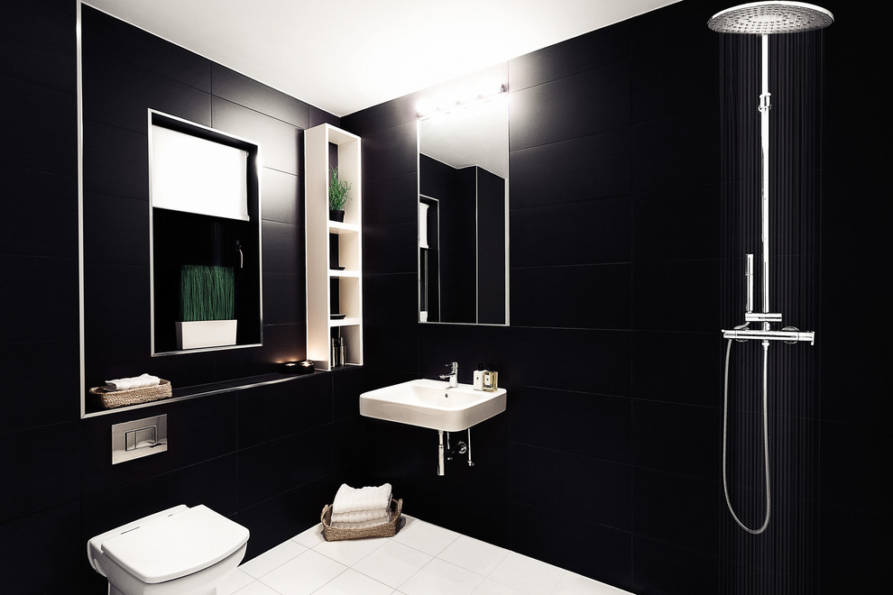 white ceiling and floor combined with black walls could also make a room look taller
