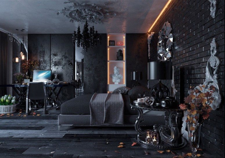 a luxurious modern Gothic bedroom with textural walls and an exposed brick one, black furniture, a built-in white shelving unit, a bubble chandelier and many quirky details