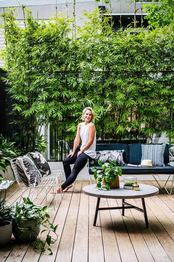 a modern terrace with a wooden deck, potted greenery, metal furniture with upholstery
