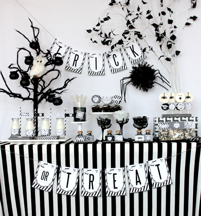 A treat table on Halloween party could be black and white too.