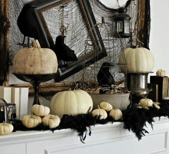 any sideboard would be a perfect place for a retro halloween display - Classy Halloween Decorations