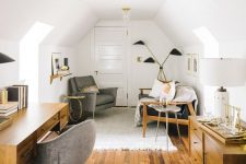 a chic attic home office with stained modern furniture, upholstered grey chairs, cool matching lamps is a very cozy space
