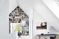 a cozy scandinavian attic home office in a corner