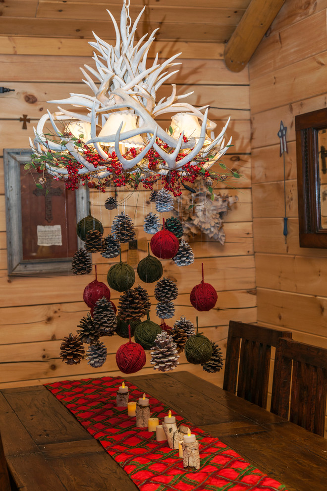 Pinecones are perfect way to add some rustic charm to any space. Even to a log cabin.