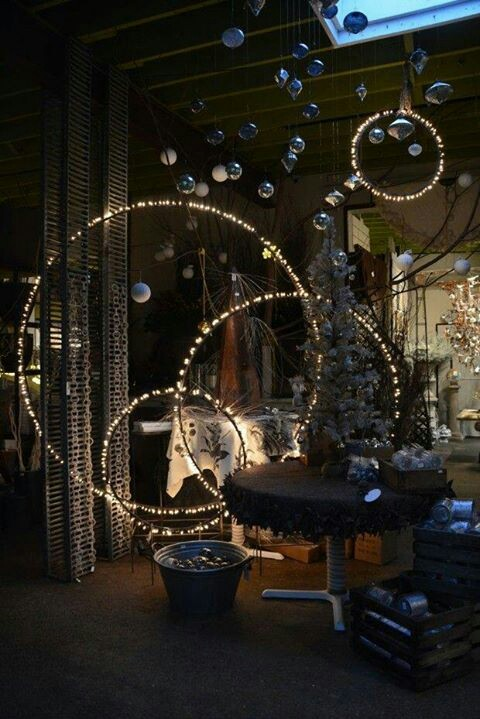 holla hoops with string lights and christmas ornaments would be cool for any outdoor holiday arrangement - Unusual Christmas Decorations Outdoor