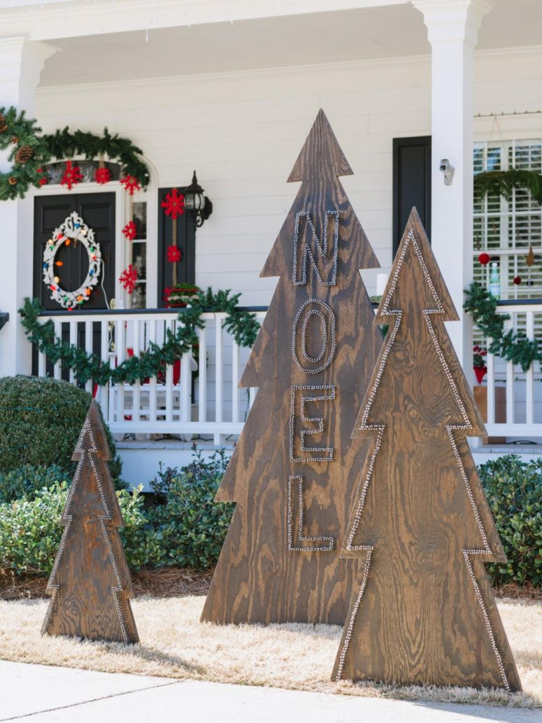 You can make cool outdoor Christmas tree alternatives from plywood sheets!