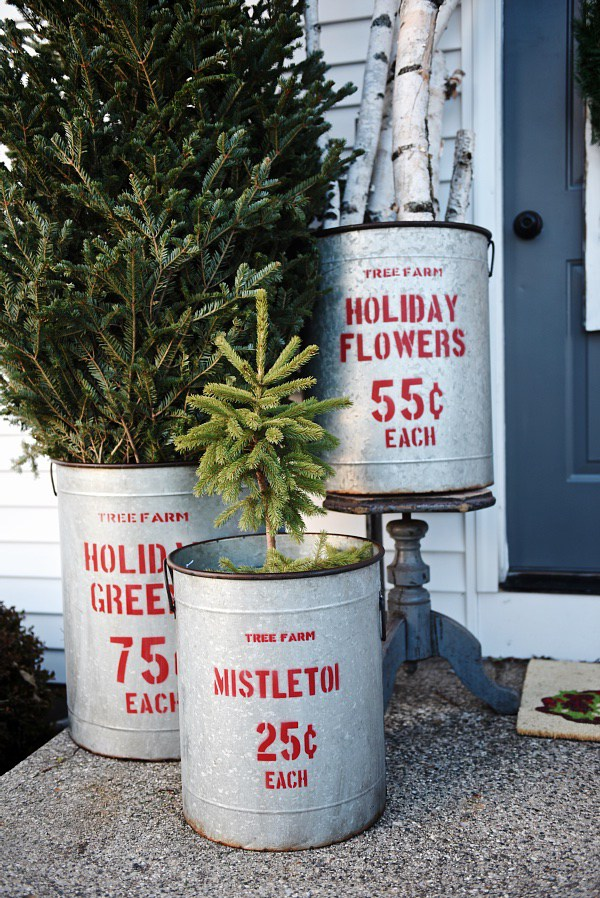 Vintage buckets could easily be used in your next rustic holiday arrangement.