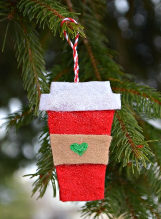a colorful felt coffee cup Christmas ornament is a bold and cool idea for decorating your holidays