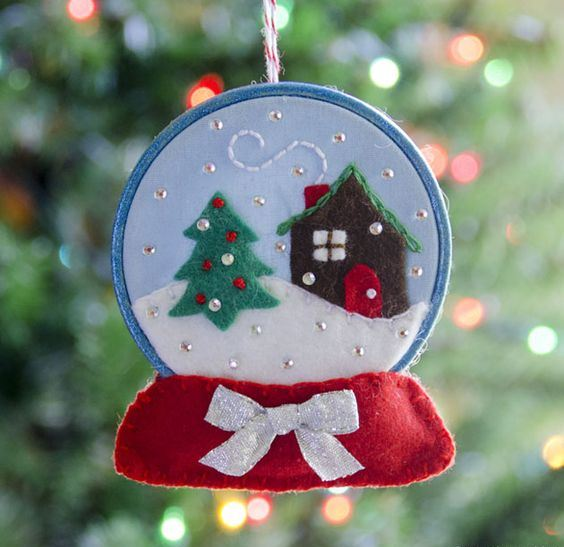 a colorful snow globe Christmas ornament with embroidery and beads is a very chic and beautiful idea to rock