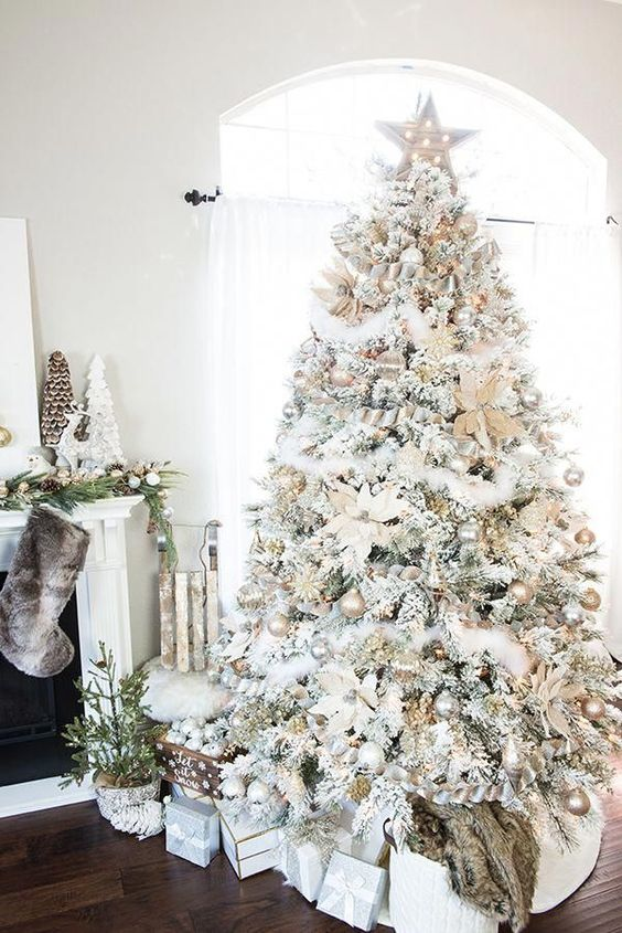 a white Christmas tree with shiyn metallic ornaments, luffs, stars and flowers plus a star topper