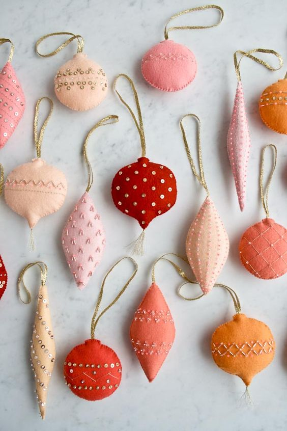 colorful felt Christmas ornaments with beads imitating traditional vintage ones are lovely and bright
