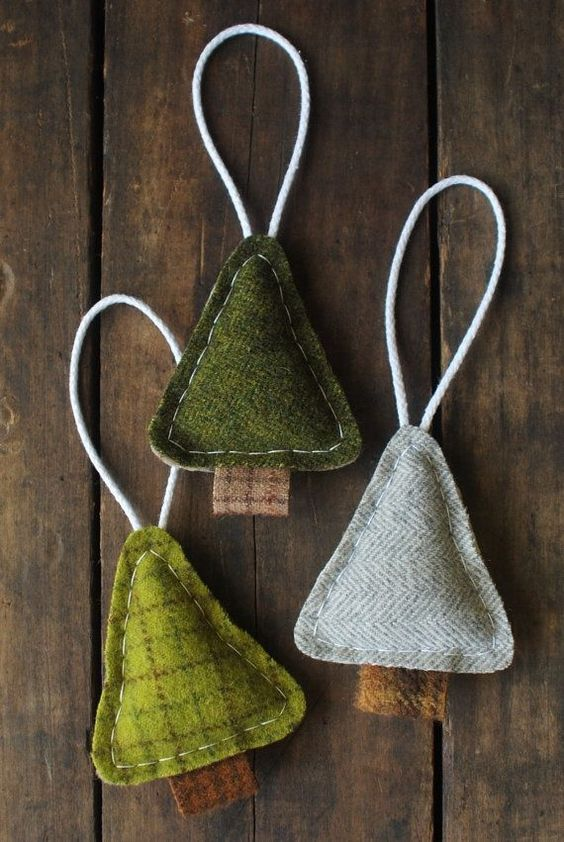 felt triangle Christmas tree ornaments are lovely and are very easy to make yourself, you won't spend much time
