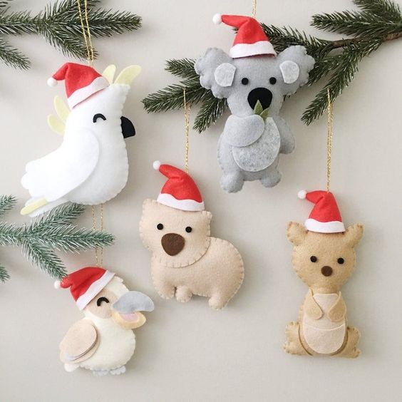 lovely bird and Australian animals felt Christmas ornaments will be totally loved by your kids