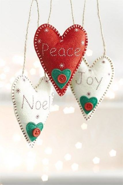 lovely white and red Christmas heart ornaments with buttons and hearts are amazing and they are very easy to make