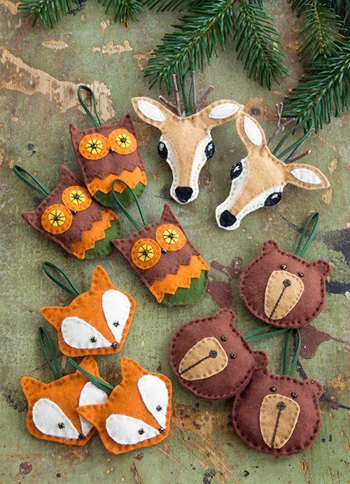 owls, deer, bear and fox felt head Christmas ornaments are very cute and super fun, make as many as you like