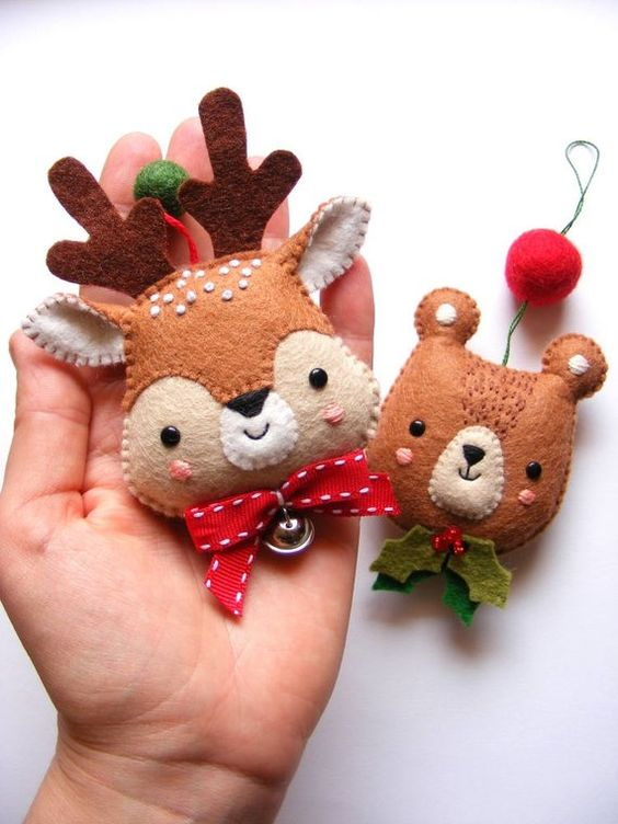 pretty felt deer and bear Christmas ornaments with bows, beads and felt balls are colorful and very fun