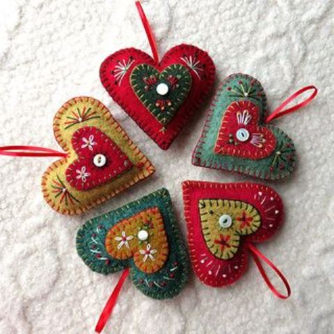 vintage-inspired colorful felt Christmas ornaments with embroidery and beading are very bright and very lovely