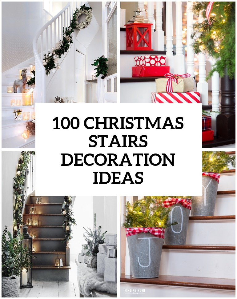 awesome christmas stairs decoration ideas - Staircase Christmas Decorating Ideas