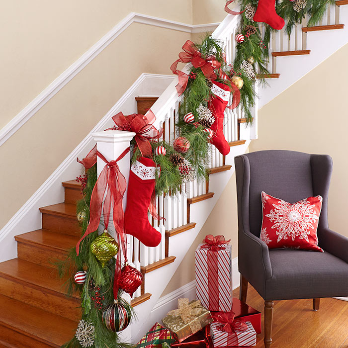 awesome christmas stairs decoration ideas - Christmas Porch Railing Decorations