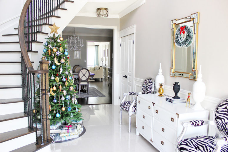 awesome christmas stairs decoration ideas placing the christmas tree at the bottom of the staircase is a great alternative to all