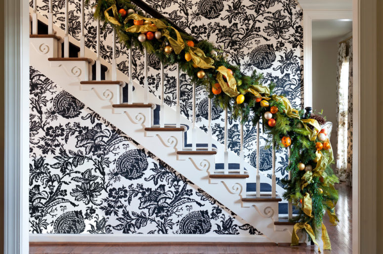 christmas decor is a great way to add splash of color to any monochrome interior