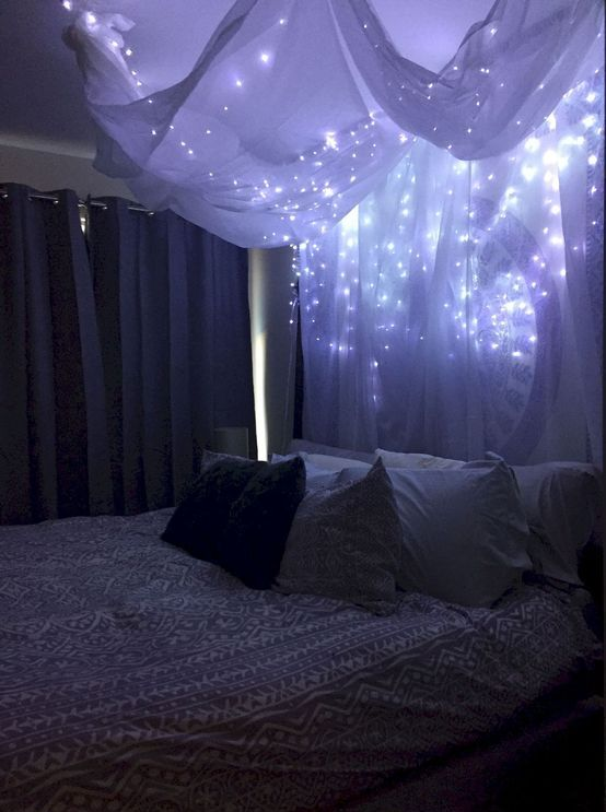 a canopy of airy white fabric and lights all over the bed is a very romantic option