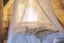 a sheer fabric canopy combined with lights is a popular and simple idea to rock
