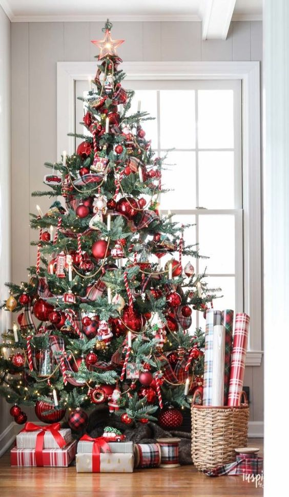 a vintage inspired Christmas tree with red ornaments, lights and candy candes looks bold and catchy