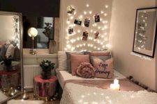 lights on the ceiling and over the headboard and on the floor is a cute and whimsy option