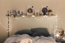 lights over the bed and around for a simple and romantic look