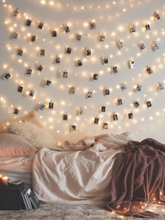 string lights on a bedroom's wall