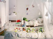 All-White Cozy Shared Kids Bedroom