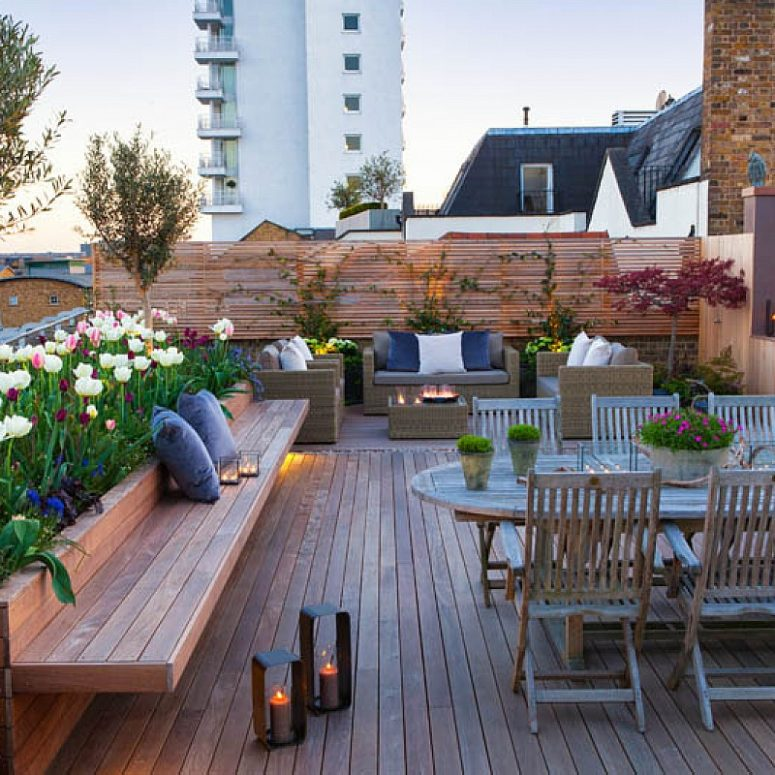 built in benches and planters make a terrace look modern and stylish - Rooftop Deck Design Ideas