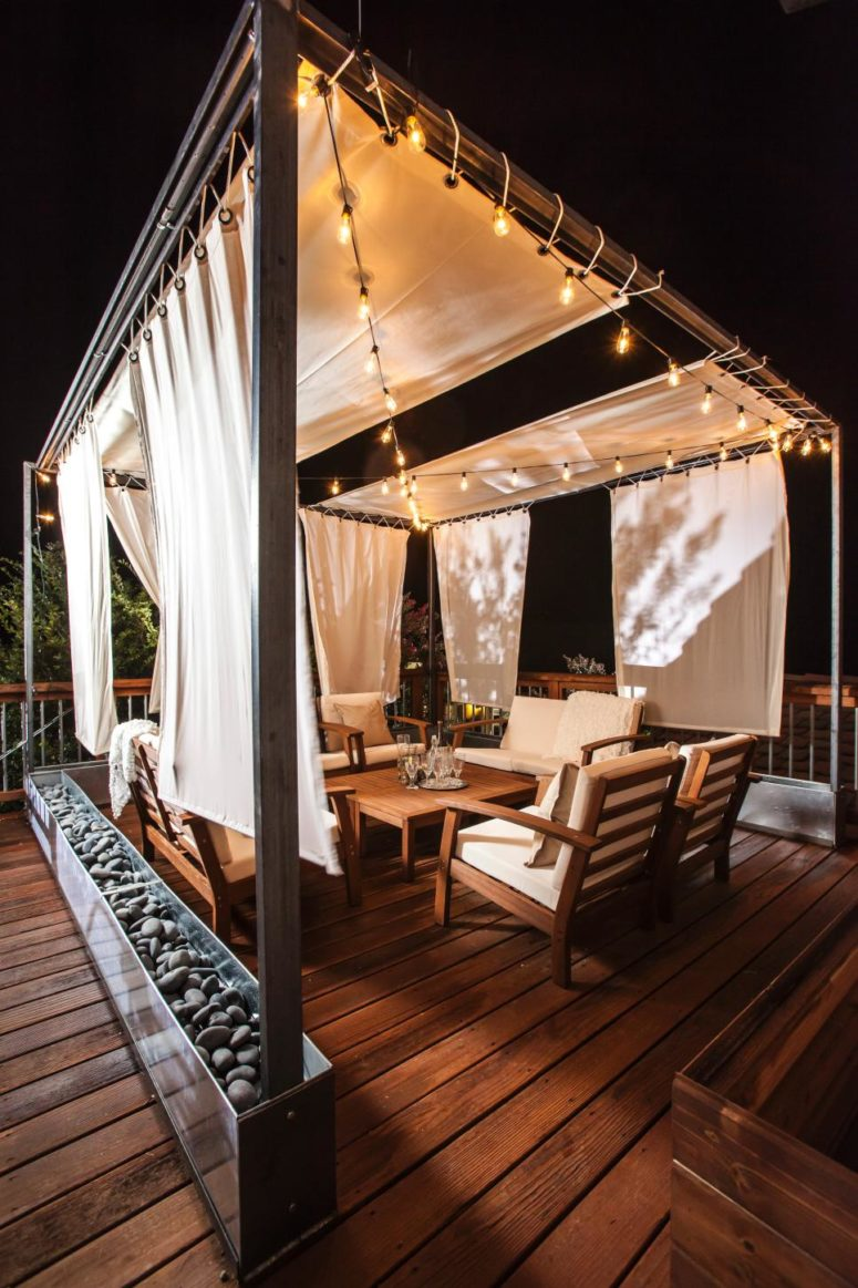 to turn an upstairs deck into a gorgeous retreat add some seating string lights and - Rooftop Deck Design Ideas