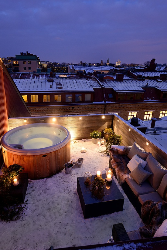 A hot tub is another luxurious thing to make your terrace a gorgeous place to spend time after working hours.
