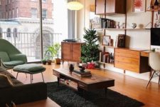 a mid-century modern space with elegant furniture, a cool wall unit with closed and open storage, a fluffy rug and a cabinet