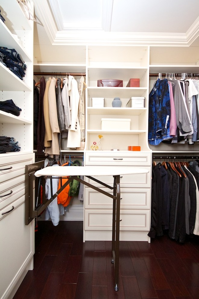 An ironing board is a great addition to a walk-in closet if you want your outfit to be perfect.