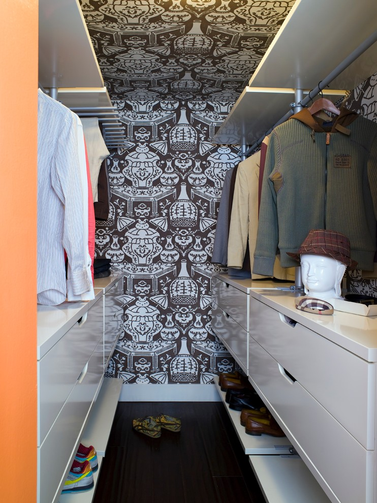 A system with drawers below, a hanging rail in the middle and shelves above would become a highly practical configuration for any closet design. You can fix such units to the wall or leave them free-standing depending on your layout.