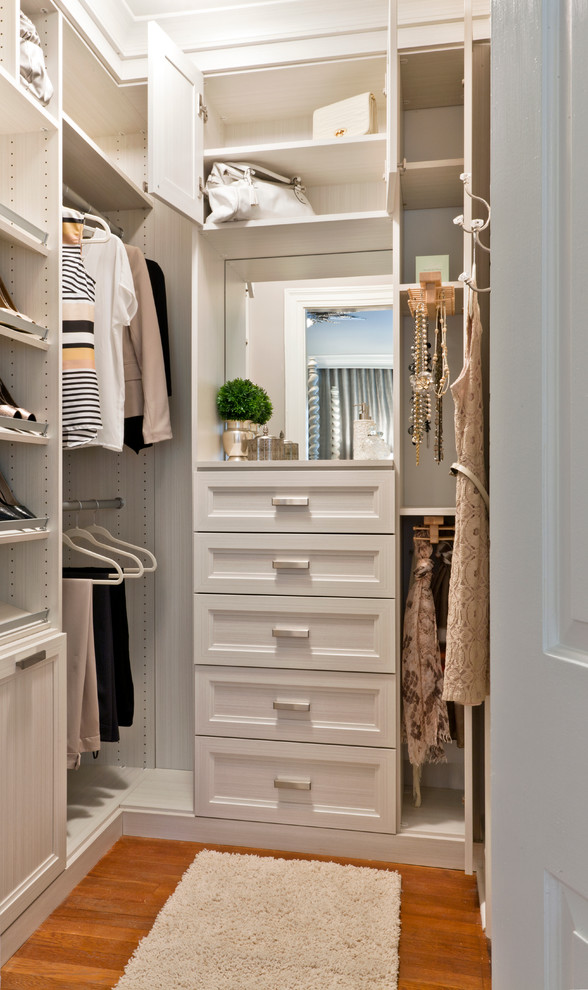 Pull-outs, valet rods, hooks, shelves and even a vanity area could be fit in a quite compact space. Just make sure to occupy all walls with storage from floors to a ceiling.