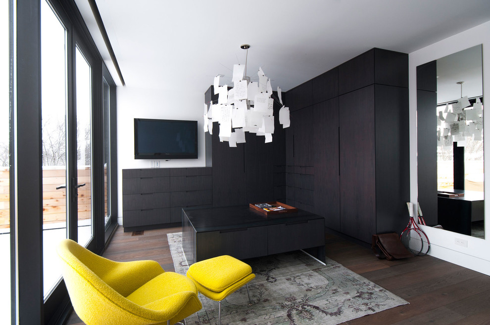 Closet Design Ideas Dark Sophisticated Colors With A Splash Of Bright Yellow Work Extremely Well In This Contemporary