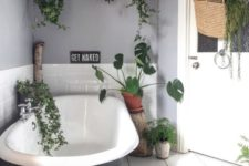 a contemporary monochromatic bathroom with lots of suspended greenery and some planters on the floor